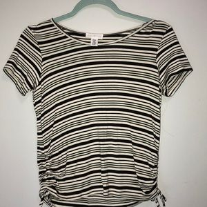 Kids Striped Tee with Ruched Sides